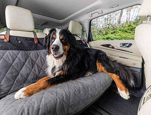 PetSafe Happy Ride Quilted Bench Seat Cover - Fits Cars, Trucks, Minivans and SUVs - Padded Cotton Fabric - Durable Vehicle Seat Protector - Grey
