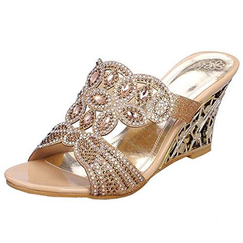 Zanpa Women Summer Mules Sandals 4#gold QxtRW6
