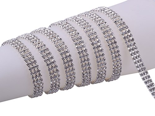 KAOYOO 3 Rows 1 Yard Crystal Rhinestone Close Chain Trim,SS16/4.0mm/0.16