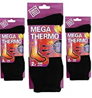 3 Pair Mens Heated Mega Thermo Thermal Insulated Socks