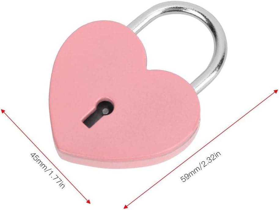 HEEPDD Heart Lock Colorful Metal Mini Padlock with Key for Jewelry Box Storage Box Diary Book 45x59mm Purple