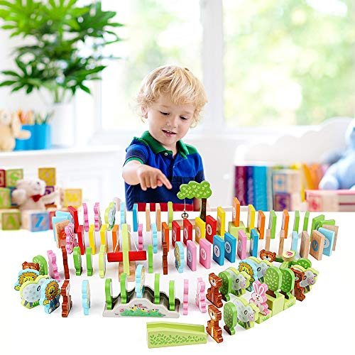 LEO & FRIENDS Wooden Dominoes Set for Kids-Building Blocks Preschool Educational Toys with Animal Shapes and Number/Letter Pattern ()