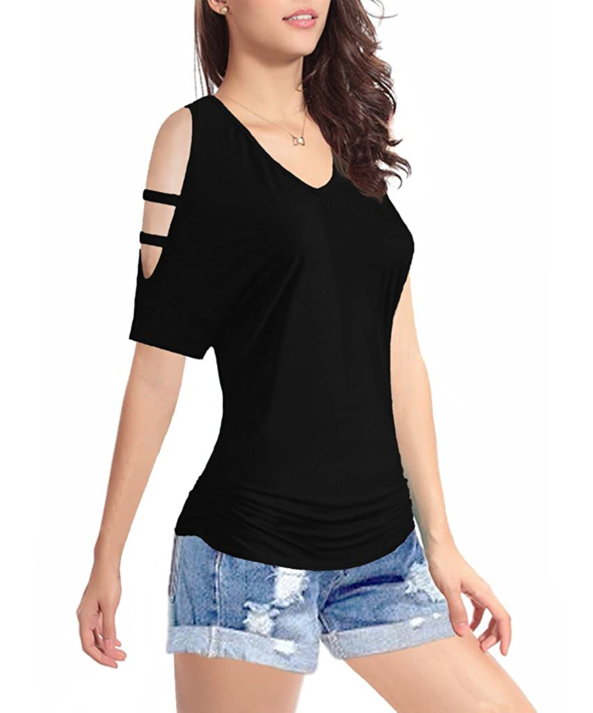 Womens Short Sleeve Shirt V-Neck Drape Waist Blouse Tops