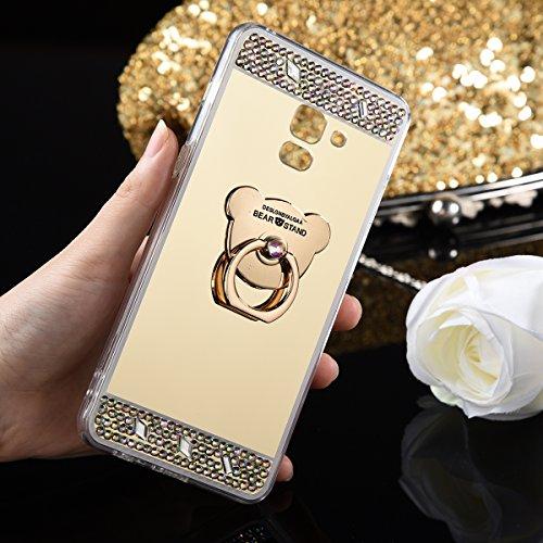 Samsung Galaxy A8, Plus De 2018 Cas De Miroir Silicone, Samsung Galaxy A8, Plus 2018 Téléphone Cas Couvercle Gel Antichoc, Strass Cristal De Luxe Euwly Doux Miroir De Pare-chocs En Caoutchouc Tpu Bling Paillettes Sp Diamant Scintillement, Or