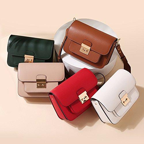 Bolso De cuero bolso de bloqueo retro mujer bolsa cuadrado pequeño, marrón red