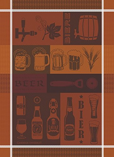 Garnier Thiebaut, Biere (Beer) Collection Rousse French Woven Kitchen / Tea Towel, 100 Percent - Blonde French Beer