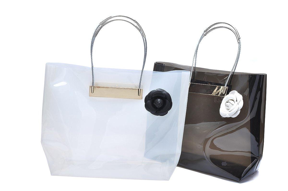 46fd047367 Amazon.com  Zarapack Women s Large Neon Color Transparent Cable Shopper  Clear PVC Runway Tote IT Bag (Black)  Shoes
