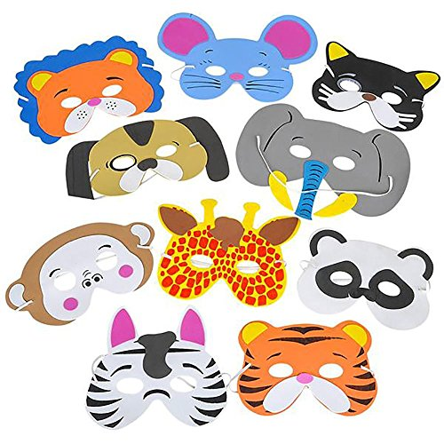 (Rhode Island Novelty 097138658326 12 Assorted Foam Animal Masks for Birthday Party Favors Dress-Up Costume, Pack,)
