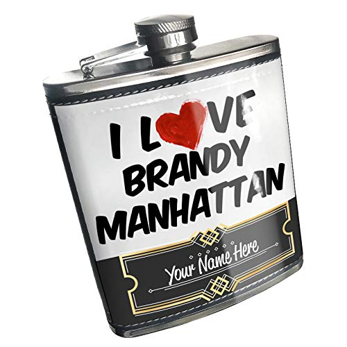 Neonblond Flask I Love Brandy Manhattan Cocktail Custom Name Stainless Steel