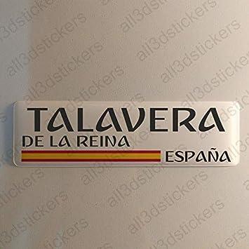 Pegatina Talavera de la Reina España Resina, Pegatina Relieve 3D Bandera Talavera de la Reina España 120x30mm Adhesivo Vinilo: Amazon.es: Coche y moto