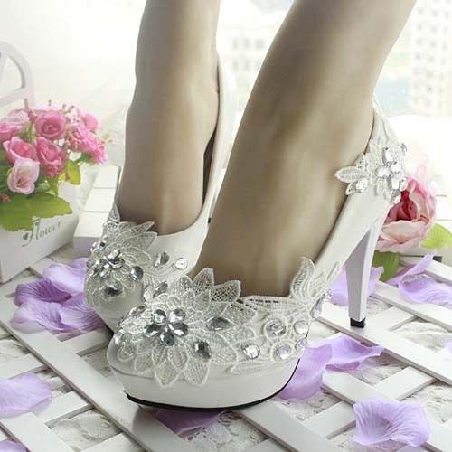 JINGXINSTORE Zapatos de novia de la boda de la flor blanca del diamante Cordones del partido de tarde de los tacones altos blanco