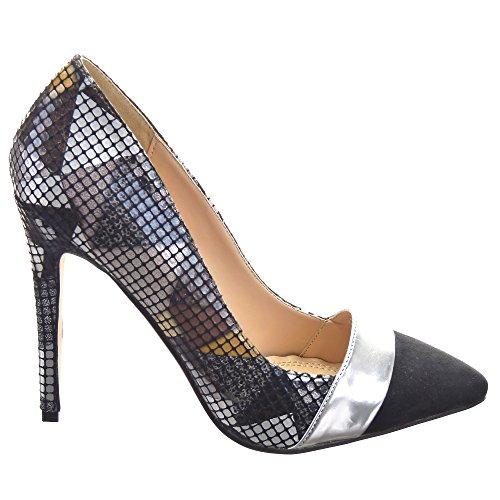Sopily - Zapatillas de Moda Tacón escarpín Decollete Stiletto Tobillo mujer Líneas Talón Tacón de aguja alto 11.5 CM - Caqui