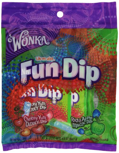 Lik-M-Aid Fun Dip Cherry Yum and Razz Apple 3.1 Ounce Bags (Pack of 12)