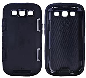 myLife Ninja Black - Classic Robot Armor Series (3 Piece Hybrid Flexi Case + Urban Body Armor Glove) Case for Samsung Galaxy S3 GT-i9300 and GT-i9305 Touch Phone (Thick Silicone Outer Gel + Tough Rubberized Internal Shell)