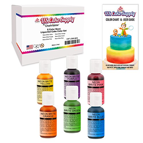 6 Food Color Neon US Cake Supply by Chefmaster Liqua-Gel Paste Cake Food Coloring Set - The 6 Most Popular Neon Colors in 0.75 fl. oz. (20ml) (Neon Food Coloring)