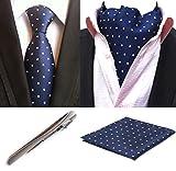 ziplock ties - MOHSLEE Mens Polka Dots Silk Tie Business Necktie Cravat/Ascot Pocket Square Set