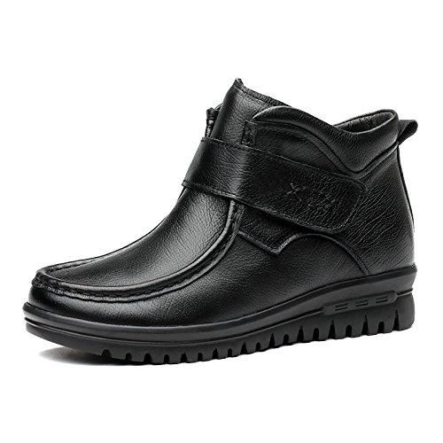 Aemember zapatos de mujer invierno Acogedor piso con Velcro madre zapatos femeninos Zapatos de algodón ,37, negro