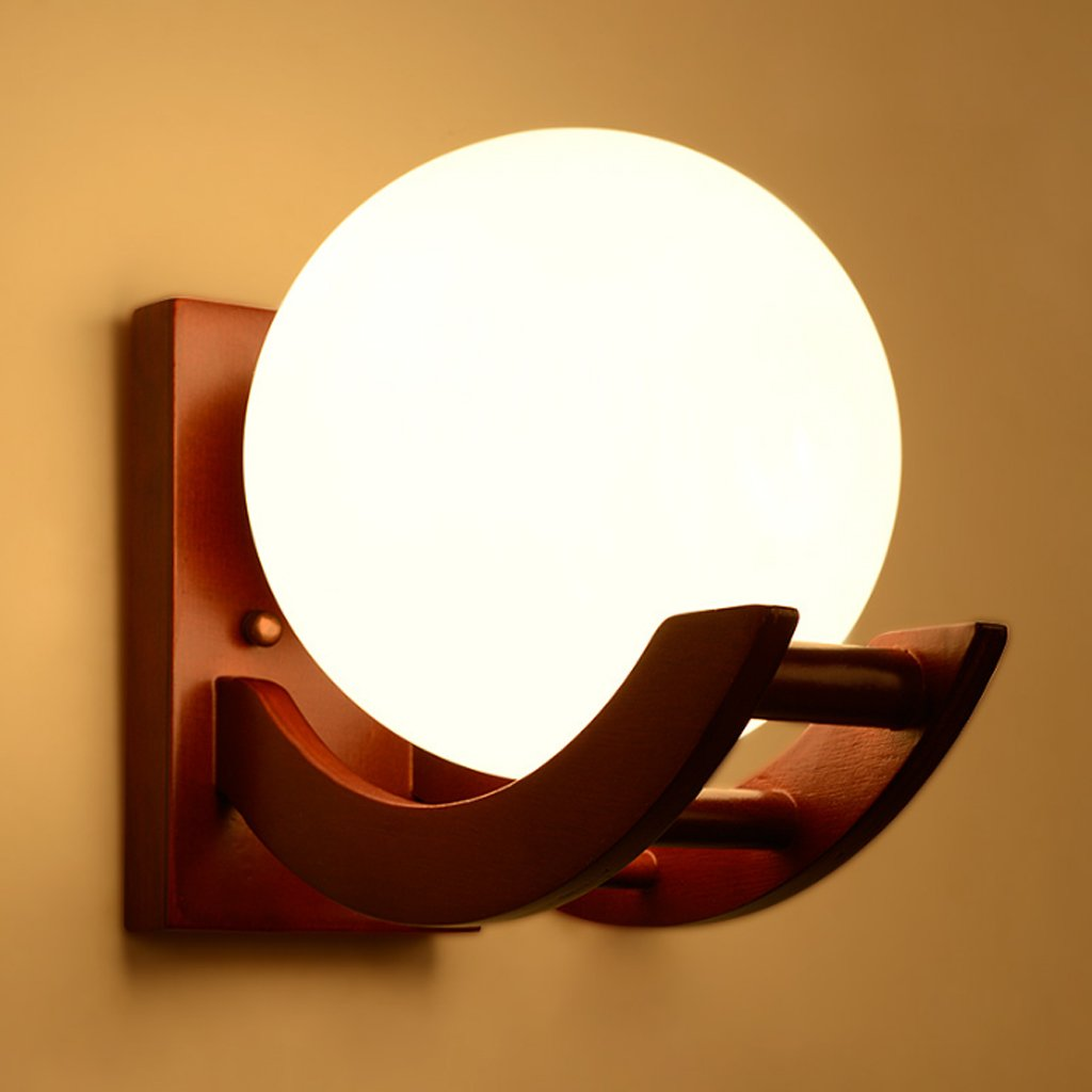 LED Wandleuchte, Massivholz Glas Wandleuchten, Ø25.5cm * H24cm, gilt für das Wohnzimmer Schlafzimmer Bett Gang