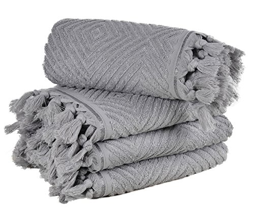 Arvec Turkish Bamboo Towel%70 Bamboo%30 Turkish Cotton, 500 GSM, Authentic Design 4 Piece hand towel Set 19 x 35 Ultra Absorbent and Ultra Soft (Grey) by Arvec