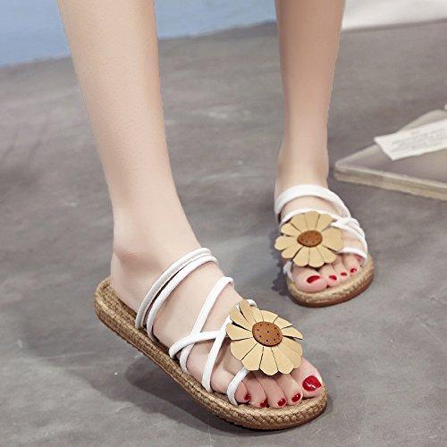 puntera plana de mujer negro Sandalias cómodas para de YMFIE verano zapatillas pBxE7Aq