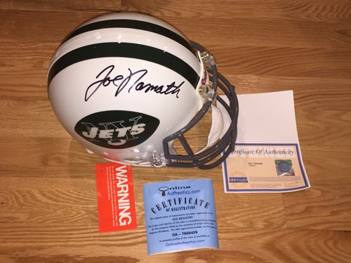 Joe Namath Autographed Signed On The Field Authentic NFL Jets Full Size Pro Helmet - Steiner Jets