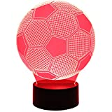 Hguangs Soccer Football Shape 3D Lamp Night Lamp 3D Optical Illusion Night light Table Light 7 Colors Changing Touch Control Gift for Christmas Birthday Valentine's Day Kids Children Girl and Boy