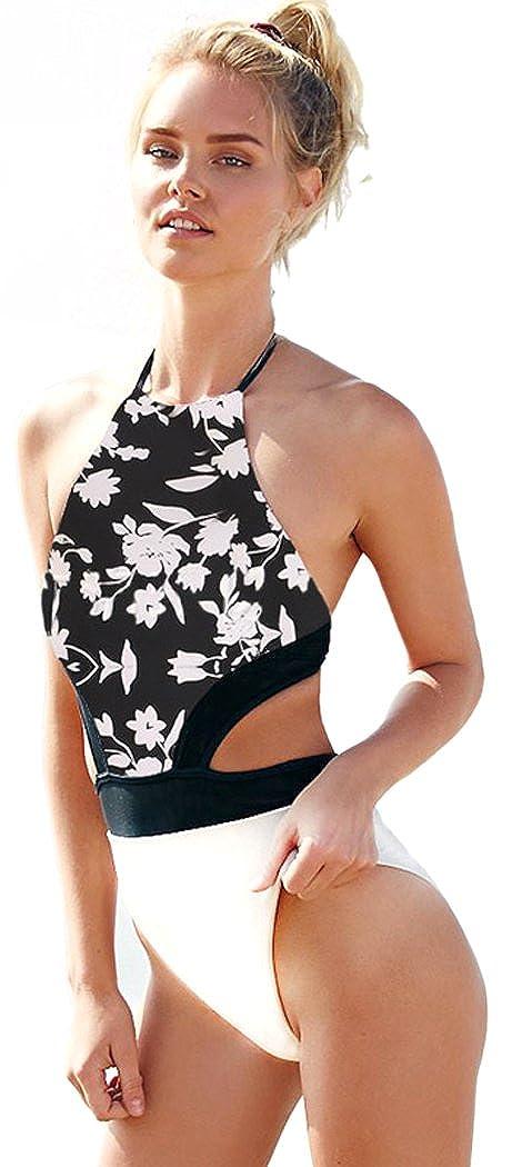 Bestime Womens Backless Floral Print One-Piece Swimwear