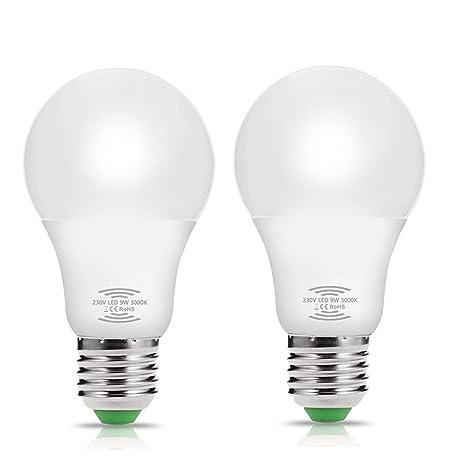 2 X bombillas de 9W con sensor de movimiento de radar, Techgomade E27 (blanco