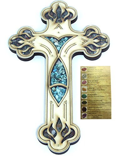 Engraved Wall Cross from Bethlehem Filled with semi Precious Stones from The Holy Land with Stones Card - Fish Style