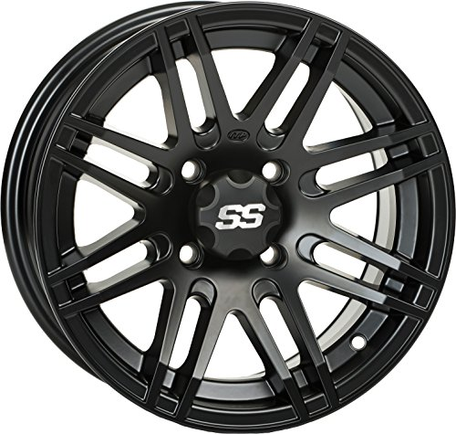 Black Alloy Wheel (ITP SS ALLOY SS316 Matte Black Wheel with Machined Finish (14x7