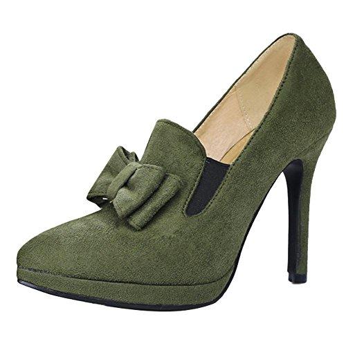 Carolbar Donna Scarpe A Punta Sexy Chic Archi Tacchi Alti Scarpe Verde