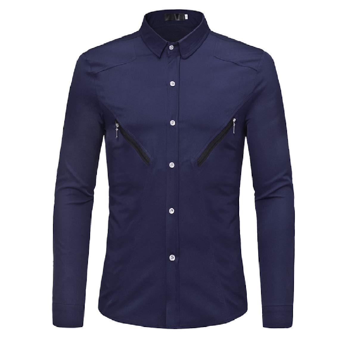 Mirrliy Mens Solid Trim-Fit Turn Down Collar Zipper Long-Sleeve Western Shirt