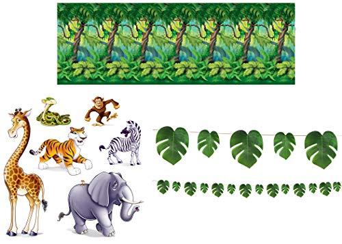Jungle Trees Backdrop (Jungle Safari Décor Bundle | Includes Jungle Trees Backdrop, Animal Props, and Palm Leaves)
