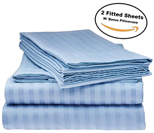 Deluxe 2Pk Fitted Bed Sheets - Bottom Sheet, Soft 1800 Bedding, Highest Quality Brushed Microfiber, Hypoallergenic, Wrinkle, Fade, Stain Resistant - Bonus Free pillowcase - (Twin Size Light Blue) (Deluxe Twin Bedding Set)
