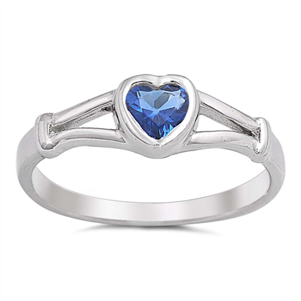 Blue Simulated Sapphire Heart Promise Ring New .925 Sterling Silver Band Sizes 1-5 Sac Silver
