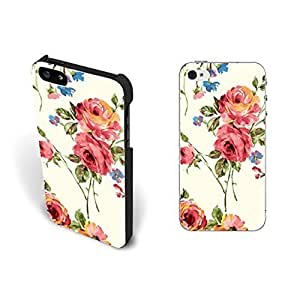 Love Vintage Rose Floral Pattern Design Iphone 5 Case Cover Pretty Retro Flower Hipster Print Hard Plastic Iphone 5s Case Skin Protective for Girls.