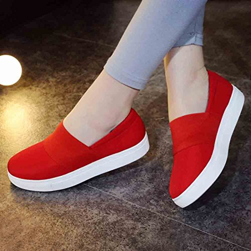 Aisun Women's Elastic Fabric Stitching Round Toe Low Top Flat Loafers Red Jvaum