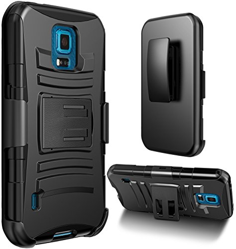 Galaxy S5 Sport Case, S5 Sport Holster Case (Sprint) By E LV - Full Body Hybrid Armor Protection for Samsung Galaxy S5 Sport with Backstand and Belt Swivel Clip with 1 Black Stylus - Black
