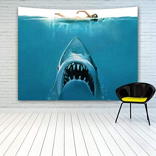MINAKO White Shark Tapestry Wall Hanging, Great White Shark Attack a Women Female Swimmer Under The Blue Sea, Tapestries for Bedroom Living Room College Dorm Home Decoration Wall Decor Art 60
