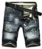 DigerLa Men's Fashion Ripped Distressed Straight Fit Denim Shorts Blue
