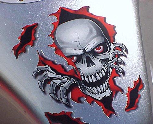 i5 Red Skull Decal Graphic for Honda Kawasaki Suzuki Yamaha Harley ()