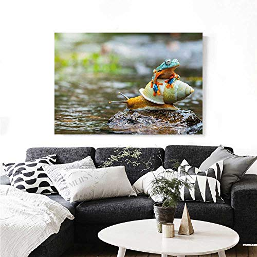 Warm Family Funny Canvas Print Wall Art Cute Colorful Frog Above The Snail Riverscape Water Rock Mollusks Amphibian Animals Art Stickers 48