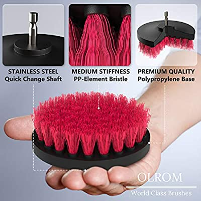 Drill Attachment Power Scrubber - Turbo Scrub Kit of 4 Scrubbing Brushes - All Purpose Shower Door, Bathtub, Toilet, Tile, Grout, Rim, Floor, Carpet, Bathroom and Kitchen Surfaces Cleaner