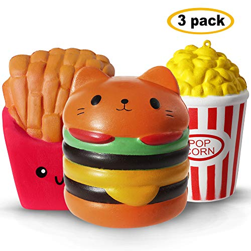 Acekid Jumbo Squishy, 3pcs Slow Rising Squishies, Stress Relief Squeeze Party Toys for Kids and Adults(Hamburger, French fries and Popcorn)