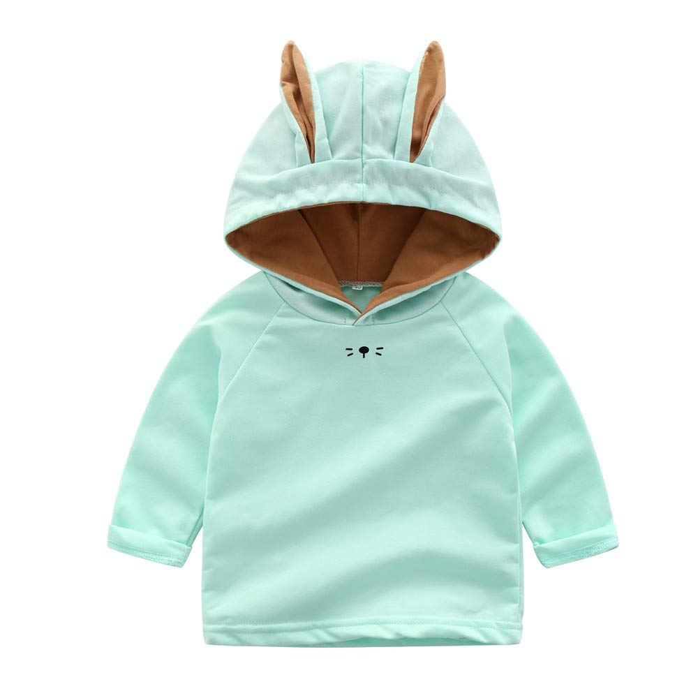 Onefa Infant Toddler Baby Boys Girls Sweatshirt Cartoon Rabbit Hooded Tops Outfit