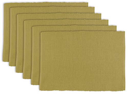 DII 100% Cotton, Ribbed 13x 19'' Everyday Basic Placemat Set of 6, Taupe by DII