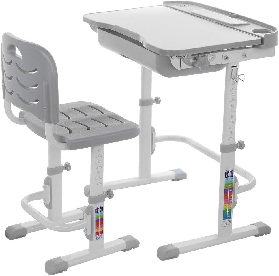Auwish Kids Desk and Chair Set, Adjustable Height Children Student School Study Table & Stool Sets with Tilted Desktop Pull Out Storage Drawer (Gray, Shipping from USA Stock)