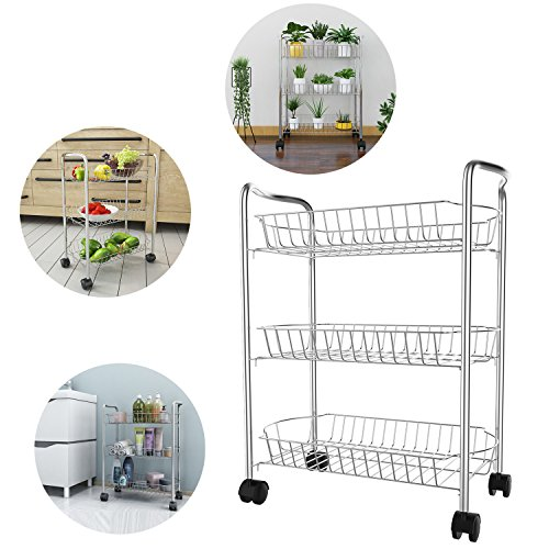 Modrine 3-Tier Shelving Cart ,Flexible Moving Shelving Unit Storage Organizer Rack Utility Cart Multifunctional Wire Basket Shelving Rack Kitchen Storage Cart for Kitchen Living Room Office