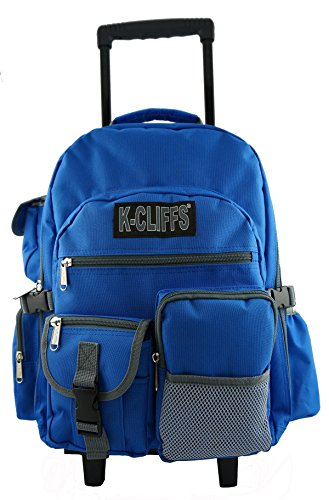 Heavy Duty Wheeld Backpack Deluxe Rolling Backpack School Backpack with Wheels Quality Rolling Book Bag Daypack with multiple Pockets (Dimensions Of A 32 Oz Gatorade Bottle)