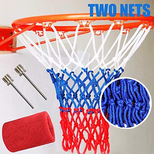 GNAWRISHING Basketball Nets, 2 Pack Heavy Duty Basketball Nets, Premium Quality All-Weather Thick Nets, Fits Standard Indoor or Outdoor 12 Loops Rims, with 2 Pcs Ball needle and 1 Pcs Wrist Sweatbands